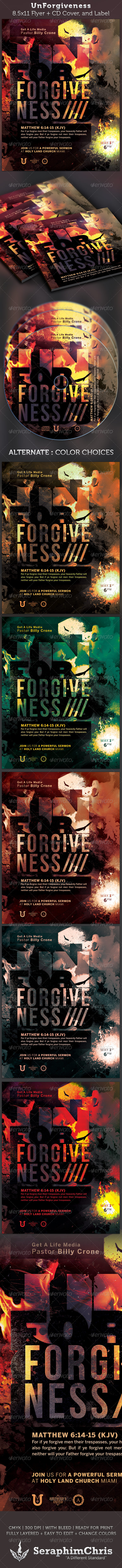 Unforgiveness Full Page Flyer and CD Cover - Church Flyers