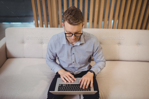 Attentive executive sitting on sofa and using laptop - Stock Photo - Images