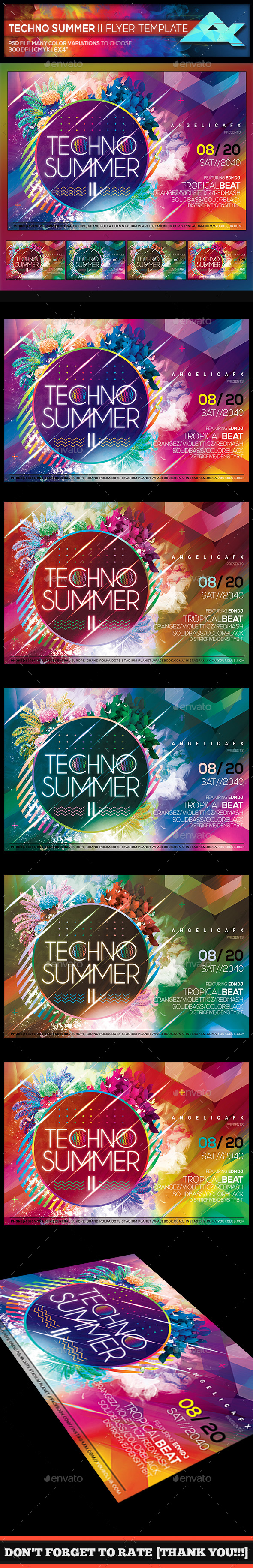 Techno Summer II Photoshop Flyer Template - Events Flyers