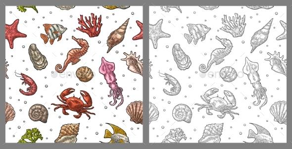 Seamless Sea Pattern - Animals Characters