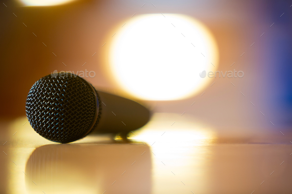 Microphone in conference room - Stock Photo - Images