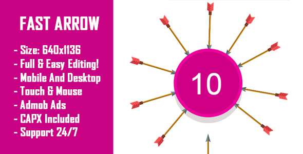 Fast Arrow - HTML5 Game + Mobile Version! (Construct 2 / Construct 3 / CAPX)            Nulled