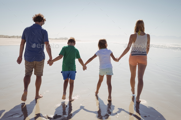 Rear view of family holding hands while walking together on shore - Stock Photo - Images
