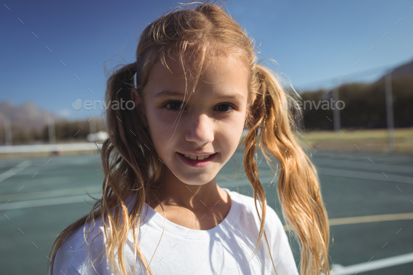Portrait of female tennis player - Stock Photo - Images