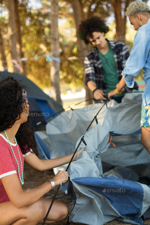 Young woman with male friends setting up tent - Stock Photo - Images