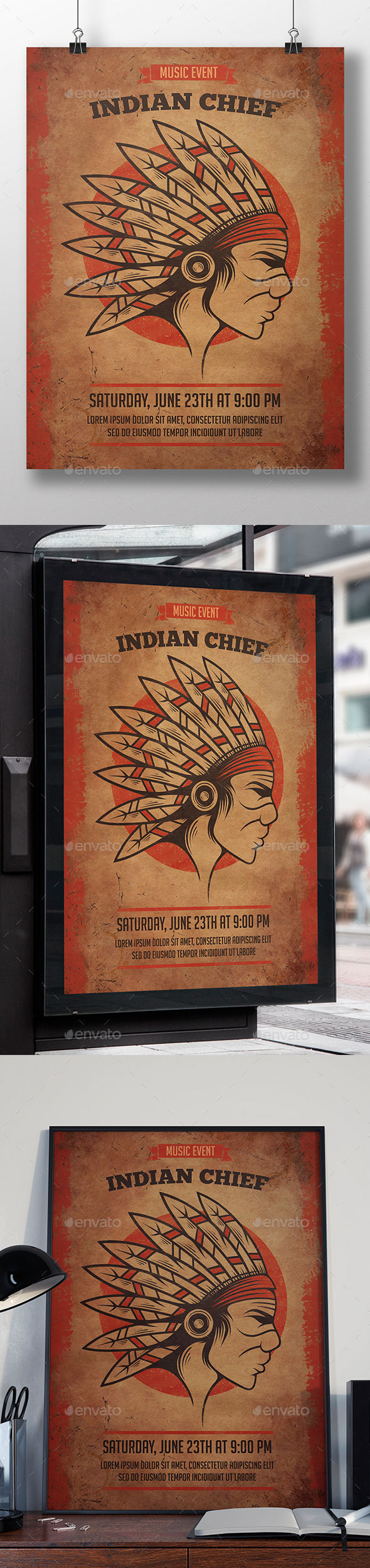Indian Chief Flyer Template - Miscellaneous Events