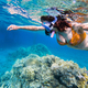 Woman snorkeling above coral reef - PhotoDune Item for Sale