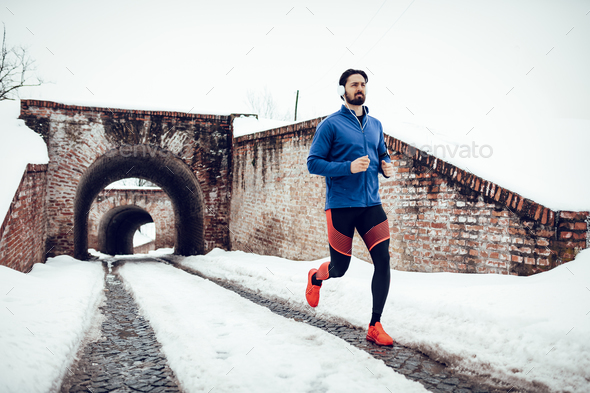 Winter Jogging - Stock Photo - Images