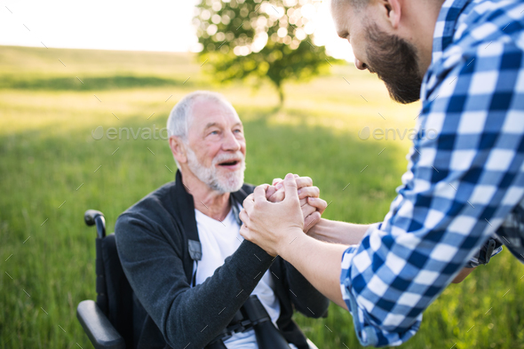An adult hipster son with senior father in wheelchair on a walk in nature at sunset. - Stock Photo - Images