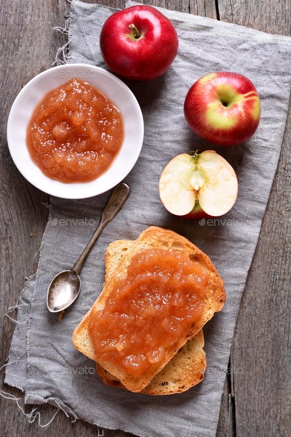Apple jam on toast bread - Stock Photo - Images