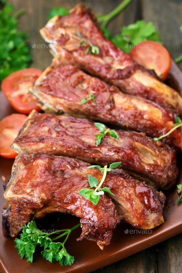 Grilled pork ribs - Stock Photo - Images