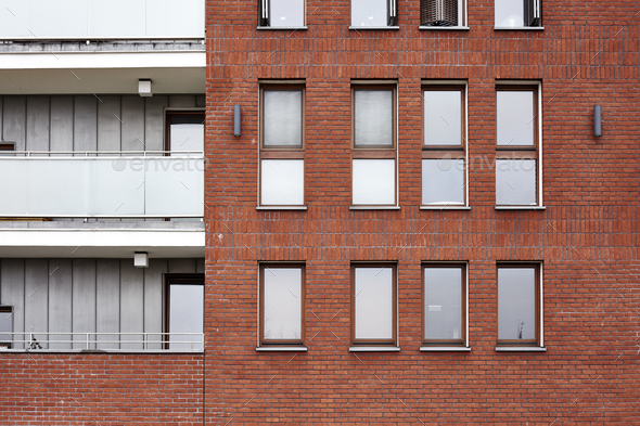 Modern building brick wall - Stock Photo - Images