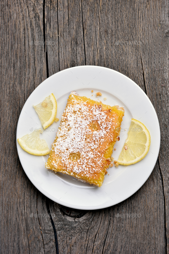 Piece of lemon pie, top view - Stock Photo - Images