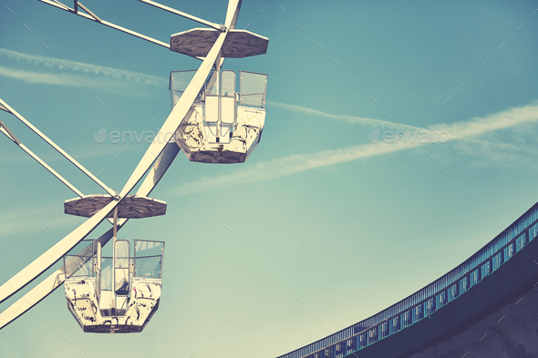 Vintage stylized picture of two Ferris wheel cars - Stock Photo - Images