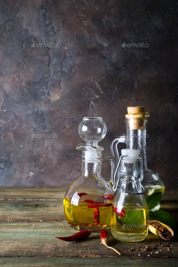 Bottles with different kinds of vegetable oil - Stock Photo - Images