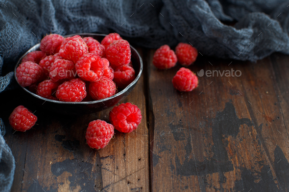Fresh raspberries in a bowl - Stock Photo - Images
