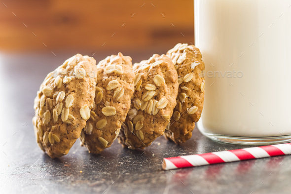 Oatmeal cookies and milk. - Stock Photo - Images