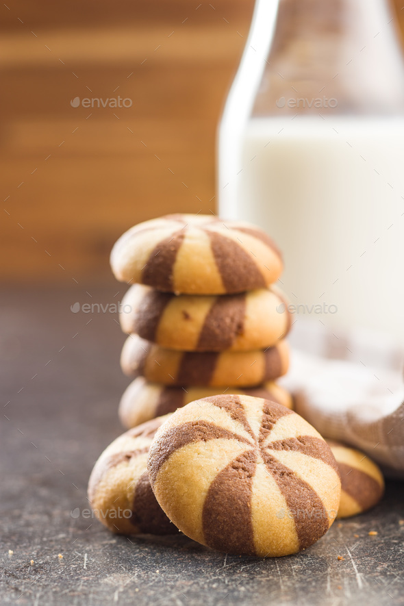 Tasty striped cookies. - Stock Photo - Images