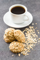 Healthy oatmeal cookies and cup of coffee. - PhotoDune Item for Sale