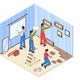 Room Repair Isometric Composition