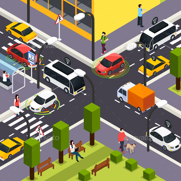 Autonomous Vehicle Isometric Background - Miscellaneous Vectors
