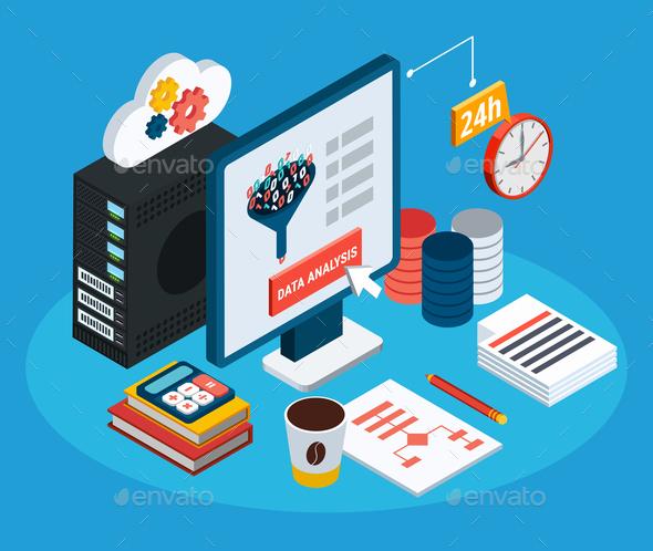 Data Analysis Isometric Background - Computers Technology