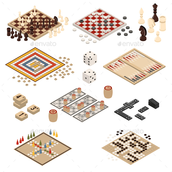 Isometric Board Games Icon Set - Sports/Activity Conceptual