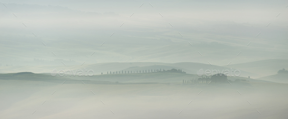 Pastel landscape in the early morning in Tuscany - Stock Photo - Images