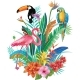 Composition of Tropical Flowers and Birds - GraphicRiver Item for Sale