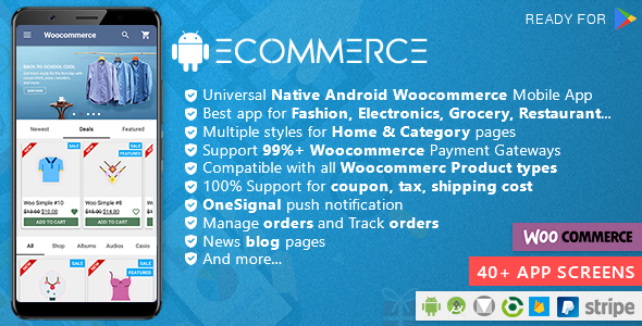 Android Woocommerce - Universal Native Android Ecommerce / Store Full Mobile Application            Nulled