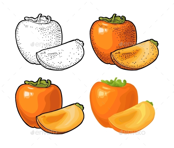Whole and Half Persimmon - Food Objects