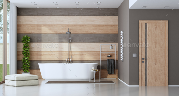 Contemporary bathroom with bathtub - Stock Photo - Images