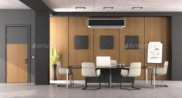 Black and wooden modern boardroom - Stock Photo - Images