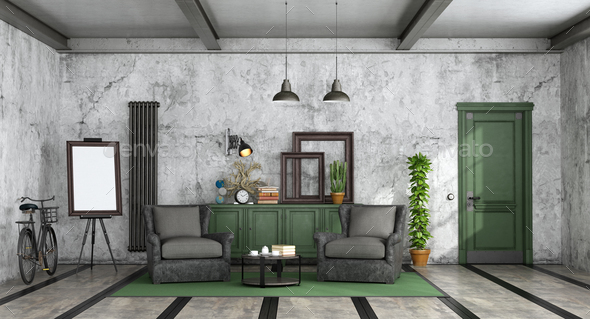 Living room in industrial style - Stock Photo - Images