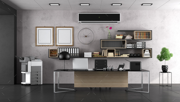 Modern office with large desk - Stock Photo - Images