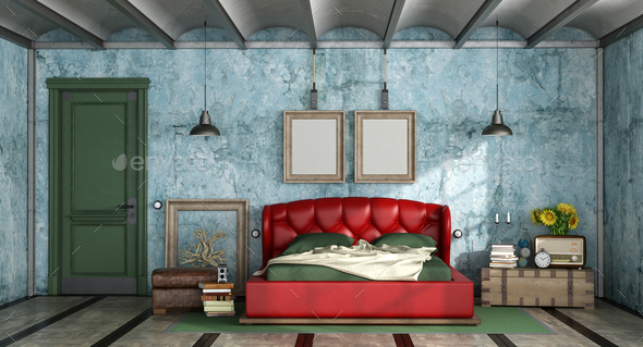 Colorful bedroom in retro style - Stock Photo - Images