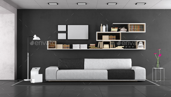 Black and white modern living room - Stock Photo - Images