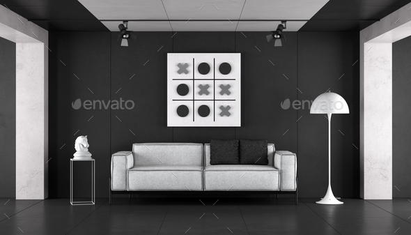 Minimalist black and white living room - Stock Photo - Images