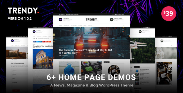 Trendy Pro - Responsive News Magazine and Blog WordPress Theme - Personal Blog / Magazine