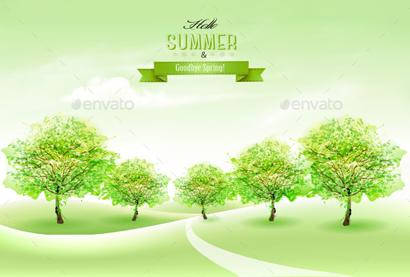 Summer Nature Background With Green Trees - Seasons Nature