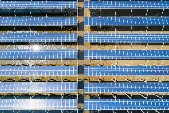 aerial view of solar power panels in clean energy generating station - Stock Photo - Images