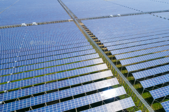 aerial view of solar energy generating station - Stock Photo - Images