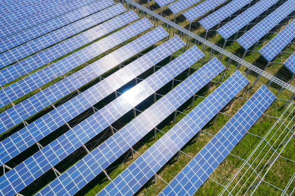 solar power farms, clean energy generating station - Stock Photo - Images