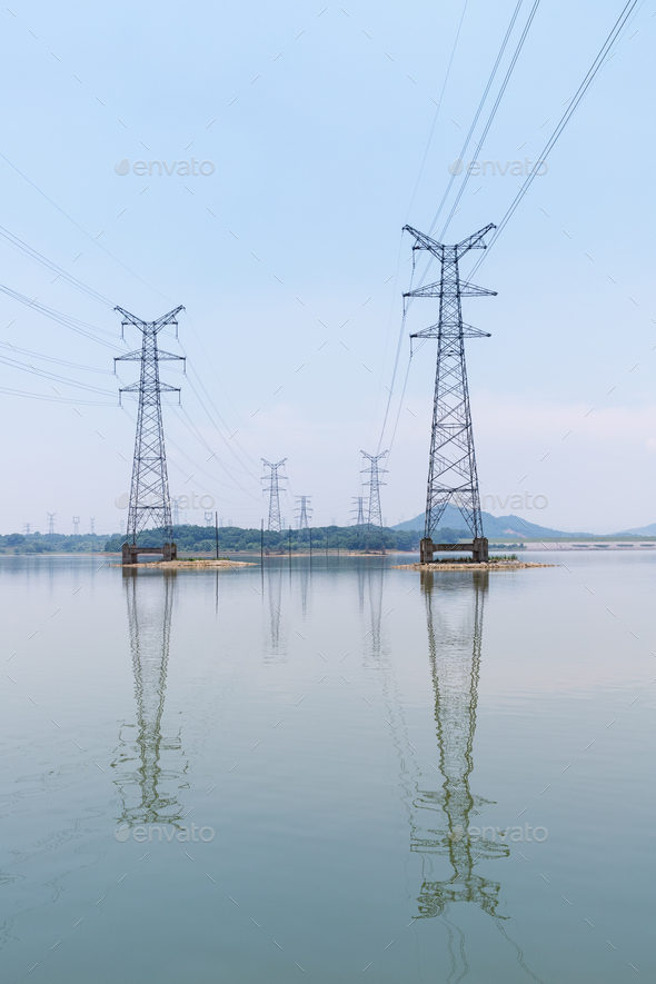 power tower in the lake and reflection - Stock Photo - Images