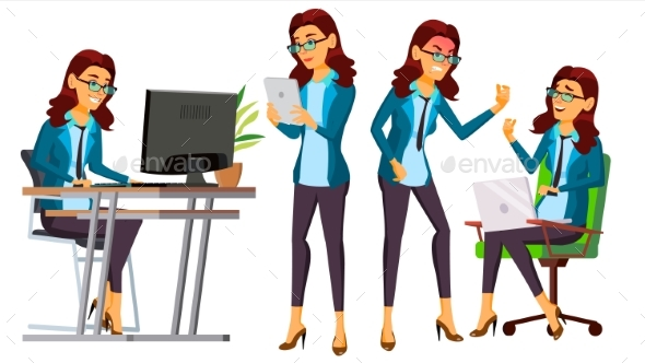 Office Worker Vector. Business Woman Character. Secretary, Accountant. - People Characters