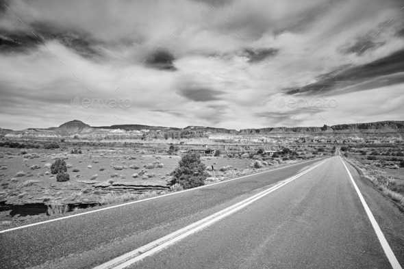 Black and white picture of a scenic road, USA. - Stock Photo - Images