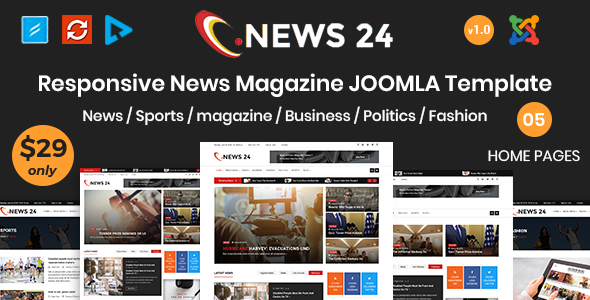 News24 - News and Magazine Joomla Template - Blog / Magazine Joomla