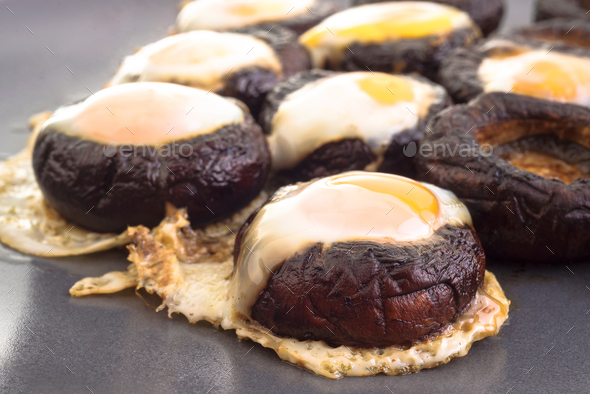 mushrooms with quail eggs - Stock Photo - Images
