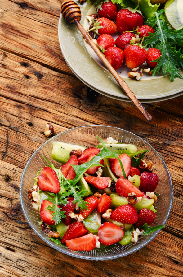 bowl of salad with strawberry - Stock Photo - Images
