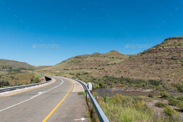Bridge over Kraai River between Barkly East and Lady Grey - Stock Photo - Images